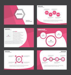 Pink presentation templates infographic elements vector