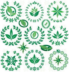 Set ecofriendly laurel wreath vector image vector image