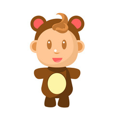 Small happy baby standing in brown bear costume vector