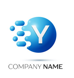 Y letter splash logo blue dots and circle bubble vector
