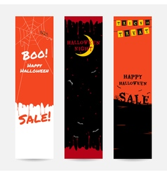 Set of happy halloween banner background vector