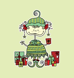 Christmas elf with presents bright vector