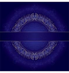 Floral gold frame with vintage patterns on violet vector image