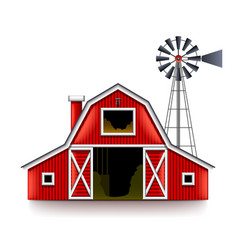 Traditional american red farm house isolated vector