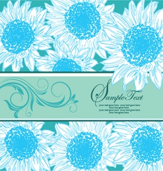 Blue floral bridal shower card vector