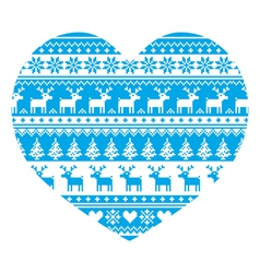 Christmas card with heart- blue nordic pattern vector