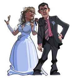 Caricature cartoon groom and bride vector