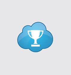 Blue cloud winner cup icon vector