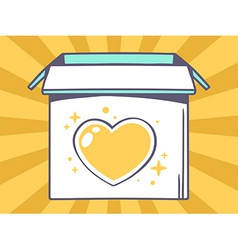Open box with icon of heart on yellow pa vector