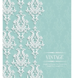 Green vintage invitation card with floral vector