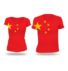 Flag shirt design of china vector