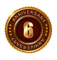 6 years anniversary golden brown label vector