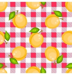 Tartan plaid with apricots seamless pattern vector