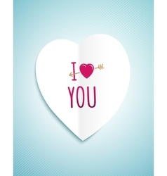 Valentines day greeting card with the white paper vector