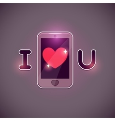 I love u inscription with smartphone icon vector
