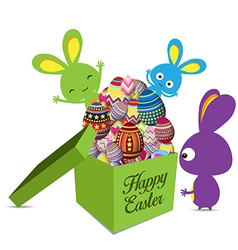 Easter holiday greeting card with gift set egg vector