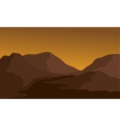 Silhouette of mountain and river vector