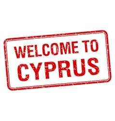 Welcome to cyprus red grunge square stamp vector