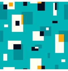 Retro seamless pattern on turquoise background vector
