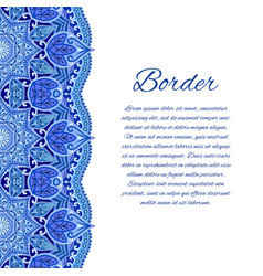 Card with mandala border card or invitation blue vector