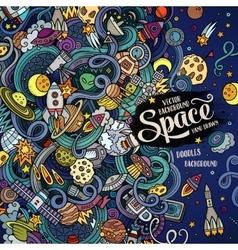 Cartoon cute doodles hand drawn space frame design vector image