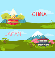 China and japan landscape cartoon vector