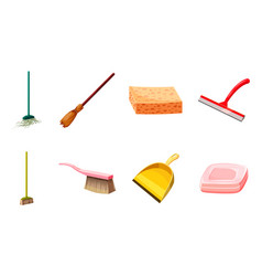 cleaning tools icon set cartoon style vector image
