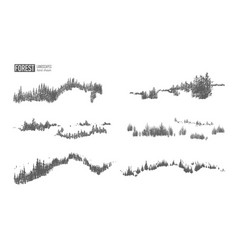 collection of evergreen forest landscapes with vector image vector image
