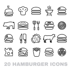 collection of hamburger line icons vector image vector image