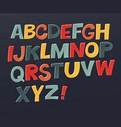 Comic colorful alphabet set comic text comics vector