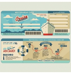 Cruise ship boarding pass design template vector