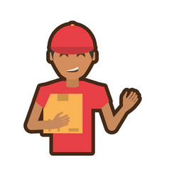 Delivery man package service vector