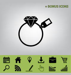 Diamond sign with tag black icon at gray vector