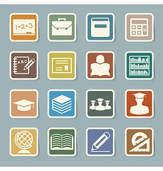 Education sticker icons set eps 10 vector image vector image