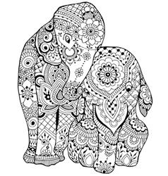 Elephant with ornament vector