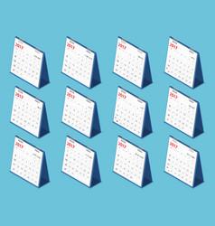 Flat 3d isometric 2017 calendar vector