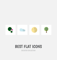 Flat icon nature set of lotus overcast lunar and vector
