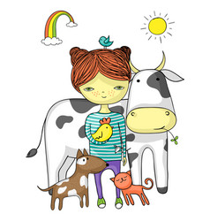 Girl surrounded by her animal friends vector