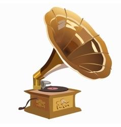 Golden vintage gramophone closeup vector image