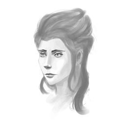 Hand-drawn woman portrait pancil sketch imitation vector
