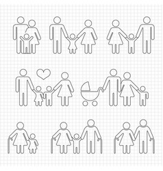 human family line icons on notebook page design vector image vector image
