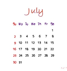 july 2017 vector image vector image