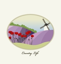 Lavender field with wind mill provence france vector