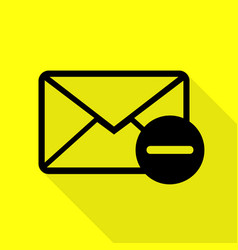 Mail sign black icon with flat style vector
