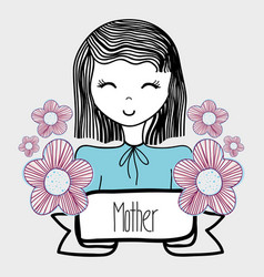 Mother day woman with flowers and ribbon vector