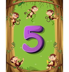 Number five with 5 monkeys on the tree vector