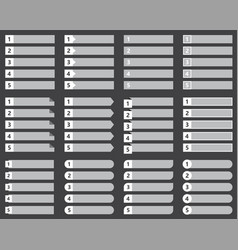 Numbered list template set chart table vector
