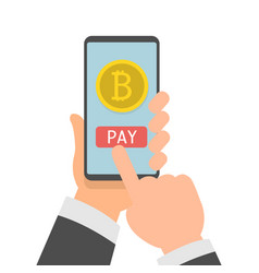 online bitcoin payment concept businessman vector image