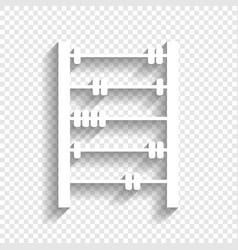 Retro abacus sign white icon with soft vector