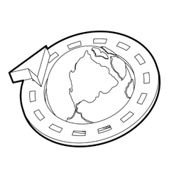 Road around earth globe icon outline style vector image